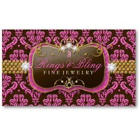 311-Golden Raspberry Chocolate Bling  Damask Business Card Templates from Zazzle.com