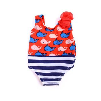 "Swimming Pool beach 1Pcs 18"" Girl Swimwear Bathing Doll Summer Floral Beach Swim Suit For American DollSwimming Pool beach KO_14_1"