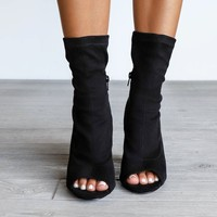 Downtown Party Black Open Toe Sock Booties