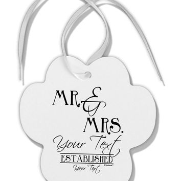 Personalized Mr and Mrs -Name- Established -Date- Design Paw Print Shaped Ornament