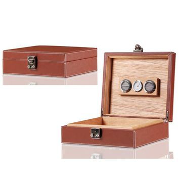 Genuine LEATHER 20 Tubes Travel Cigar Humidor Box WITH LOCK gadget Portable Cigar Storage Box Charutos Accessories  boite cigare