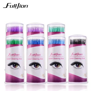 Fulljion 100pcs/set Cotton Swab Makeup Brushes Eyelash Cleaning Sticks Micro Brushes Eyelashes Extension Mascara Remove For Eyes