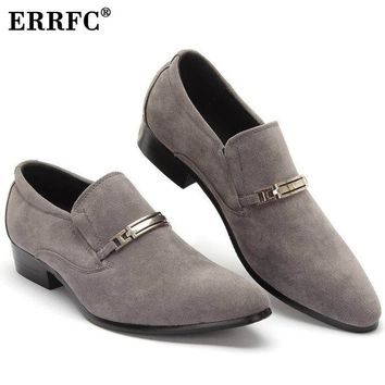 ERRFC Hot Selling Men's Casual Grey Suede Leather Shoes For Man Pointed Toe Nubuck Leather Dress Shoes Black 37-44 A01001