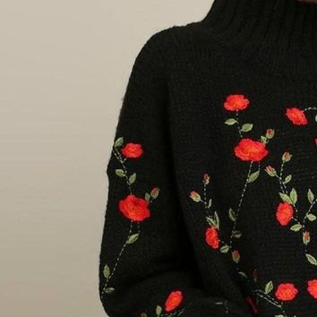 Sahalie Embroidered Turtleneck -