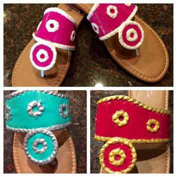 Painted sandals inspired by Jack Rogers. Add a message with your color choices and design your own sandal!! Possibities are endless!!