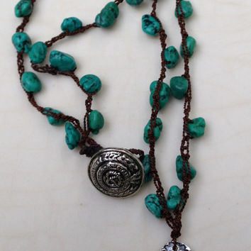 Artisan Necklace OOAK Crocheted Gemstone Turquoise, Dark Brown Silk, Flower Stamped Silver Plate Pendant Floral Silver Button Shank Handmade
