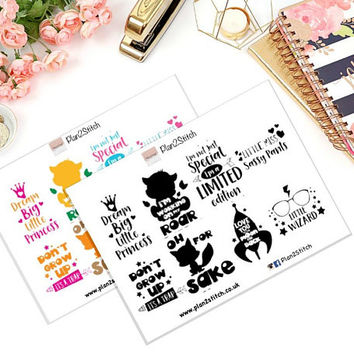 Cute Quotes Full Box Planner Stickers for Erin Condren in Black and White or Colour