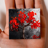 Tiny art, Miniature, Moon Light on Red Tree, Miniature Original Oil Painting, Dollhouse Art, American Girl Doll, 2""