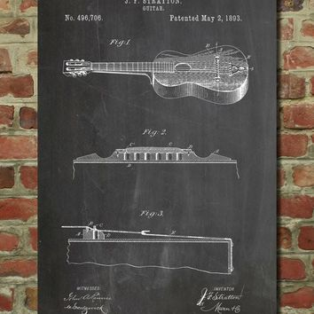 Stratton & Son Acoustic Guitar Patent Poster
