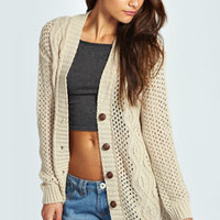 Simone Open Stitch Cable Boyfriend Cardigan