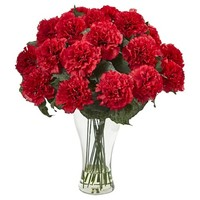 Carnation Arrangement with Glass Vase - Red