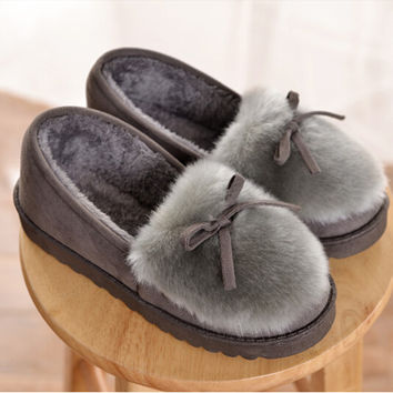 Winter Women Warm Slippers Indoor Home Shoes Warm Adult Floor Shoes Plush Cotton Slippers  Loafers Pregnant Women Shoes
