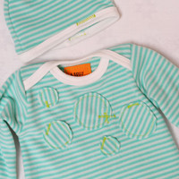 Neutral baby Set. Gown and hat.  White with teal stripes.   (Made by lippybrand)