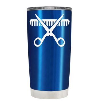 HairStylist Scissor and Comb Silhouette on Translucent Blue 20 oz Tumbler Cup