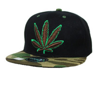 * Marijuana Leaf Snap back In Black Green