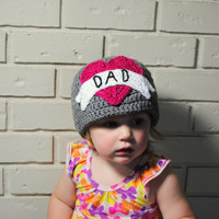DAD Tattoo Beanie, Punk Rock Baby Girl, Fathers Day, Crochet Baby Girl Hat, Girls Knit Hat, Womens Crochet Hat, Punk Beanie Pink Heart, Gray