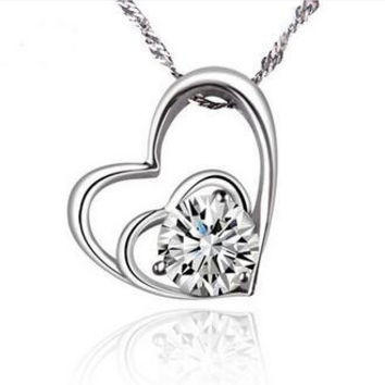 Double Heart Solitaire CZ 925 Sterling Silver Necklace