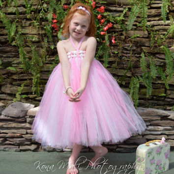 Flower Girl Tutu Dress...Birthday Tutu Dress...Flower Girl Dress...Pink & White Tutu Dress size 3T-6 with headband and slip