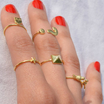 Owl Ring / Bird Ring / Starfish Ring / Question Mark Ring / Pyramid Ring / Sterling Silver Adjustable Mini Rings / Gold Plated Rings