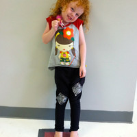 Kids Black Sweatpants With Silver Sequin Patches
