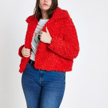 Plus red faux fur coat - Coats - Coats & Jackets - women
