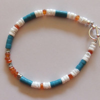 Carnelian, Shell and Turquoise Heishi Bead, and Silver Bracelet
