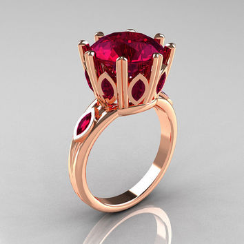 Classic 14K Rose Gold Marquise and 5.0 CT Round  Burgundy Garnet Solitaire Ring R160-14KRGBG