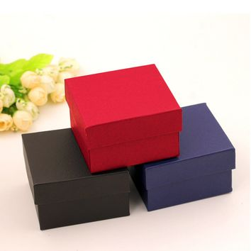 Red Color Jewelry Watch Box Case Fashion 1pc Elegant Pure Color Paper Present Gift jewelry Boxes Case Display Storage Organizer