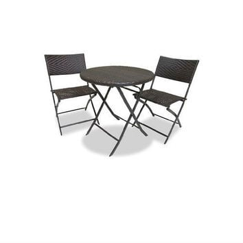 3 Piece Outdoor Bistro Set with Round Table & 2 Patio Chairs
