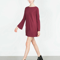 Plain Trumpet-Sleeve Dress