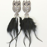 Silver Owl Earrings with Black Feathers. Long Black Feather Dangle from Carved Owl Chandelier. Owls with Black Bead Eyes. Owl with Flower