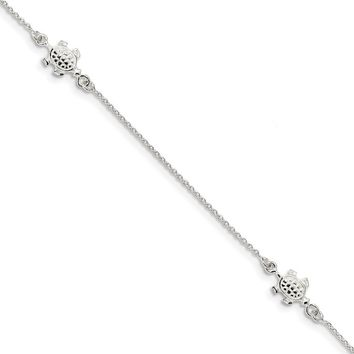 Sterling Silver Polished Turtle And 1mm Cable Chain Anklet, 9-10 Inch