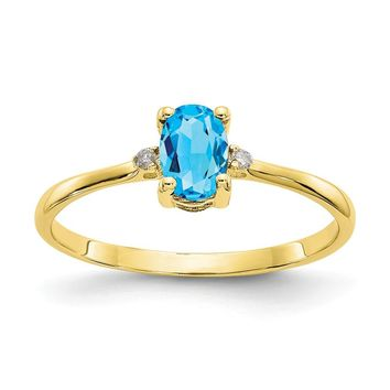 10K Yellow Gold Polished Geniune Diamond & Blue Topaz Birthstone Ring