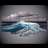 5 pcs Wall Art on Canvas Panel Print Ocean Waves with Storm Clouds room decor