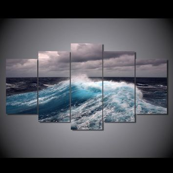Wall Art on Canvas - Ocean Waves with Storm Clouds room decor