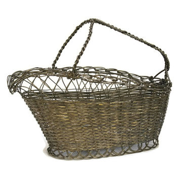 French Wine Basket. Wine Bottle Carrier. Silver Wine Basket. Silver Tableware.  Vintage Wine Pourer. French Basket. Metal Wire Basket.
