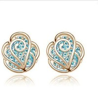 The fashion rhinestone Camellia earrings stud-gold+blue