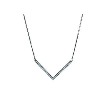 Fronay Chevron Necklace Black Plated Silver, Length: 16-18 Inches