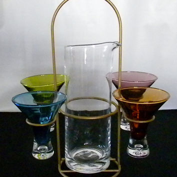 Vintage Martini Pitcher and Glasses, Colorful Barware