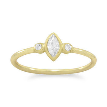 14k Gold Plated Sterling Silver Petite Marquise CZ Ring