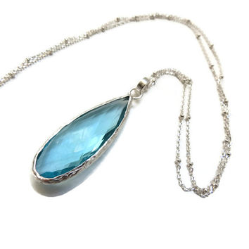 Light Blue Topaz Sterling Silver Necklace ~ Large Gemstone, Long Necklace