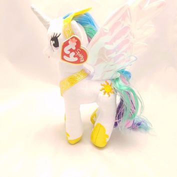 "NEW 2016 Princess Celestia Ty My Little Pony 8"" Plush MLP"