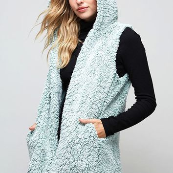 Fantastic Fawn Hooded Sherpa Vest in Sage