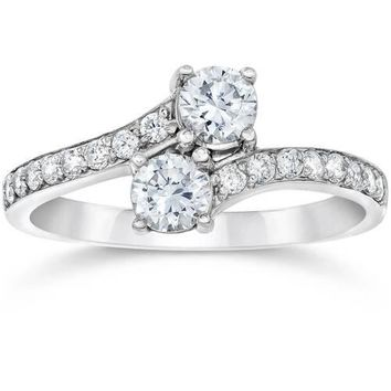 Forever Us Two Stone Round Diamond 1.00Ct Solitaire Ring