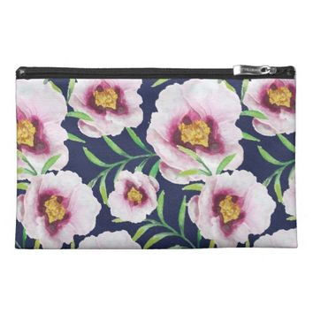 Sweet pink blue poppy vintage floral pattern travel accessories bag