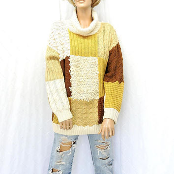 80s chunky sweater / size M / cable knit oversized turtleneck sweater / hand knit sweater / 1980s cream brown textured pullover sweater