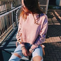 Sibybo Pink Hoodies Women New Autumn Winter O Neck Long Sleeve Short Cropped Top Tracksuit Sexy Chic Lace Up Knitted Sweatshirt