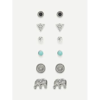 Elephant & Round Design Stud Earring Set