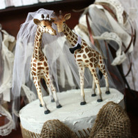 Giraffe wedding cake topper-animal-wedding cake topper-giraffe-wedding-just married-bride and groom-cake topper-custom-jungle-zoo-safari