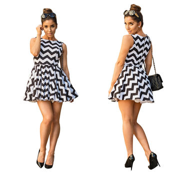 White and Black Wavy Striped Skater Dress